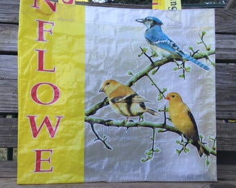 Recycled Feed Bag Tote, reusable tote bag, grocery tote, recycled shopping bag, reusable grocery bag, recycled tote bag, birds, sunflower