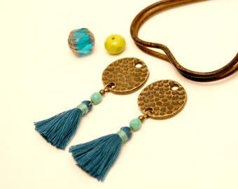 2 peacock blue tassels, tassel Turquoise tassel is handmade, tassel jewelry, round, cotton, Metal Sequin tassel Sequin