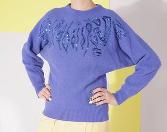 wool angora sweater, size S, batwing warm sweater, sequin blue sweater, vintage indigo pullover sweater, blue angora sequin jumper
