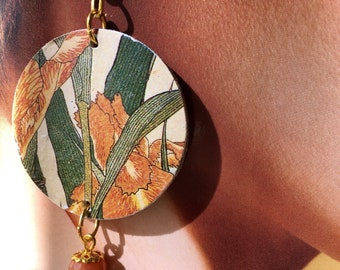 Hokusai, hard stone and paper earrings, Iris and grasshopper, floral earrings, artistic earrings, Japanese art