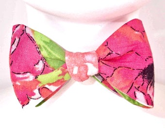 Tropical Print Butterfly Bow Tie