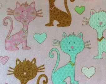 Flannel/colorful cats/hearts on pink background cotton fabric by the yard