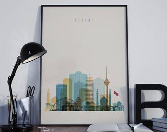 Tehran Art Tehran Watercolor Tehran Multicolor Tehran Wall Art Tehran Wall Decor Tehran Home Decor Tehran Skyline Tehran Print Tehran Poster