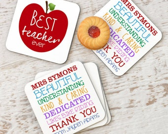 Personalised Best Teacher Coaster Set