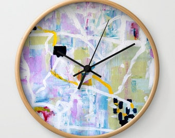 Modern Wall Clock with Battery and Wood, Abstract Art Clock, FREE SHIPPING