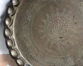 Vintage Brass Etched Tray, Plate