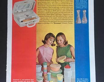 1963 Ladies Having A Tupperware Party In April Print Ad