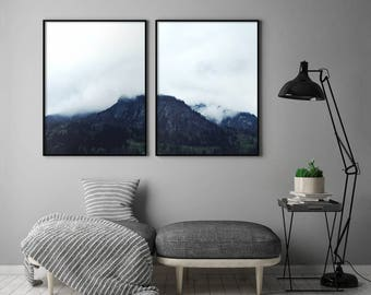 Abstract Indigo Forest Print, Indigo Forest Printable, Modern 2 Piece Printable, Minimal Indigo Print, Minimal Indigo Printable Wall Art