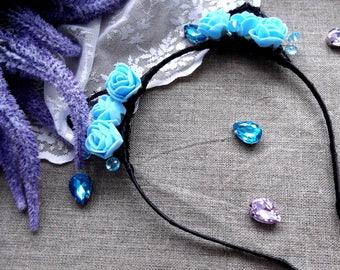 Kitty Headband / Headband / Cat Ears/ Flower Headband/ Felt Flowers/Women cat ears Cat costume girl adult party flower crown