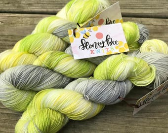 Lime - Aid  - Hand Dyed Yarn - Queen Bee Base