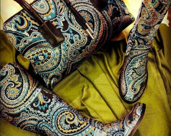 Woman's Handmade Embroidered Boots with Leather lining and Leather Sole. Handmade Leather Boots.