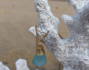 Wire wrapped sea blue chalcedony gemstone semi precious stone necklace on 14 gold filled chain