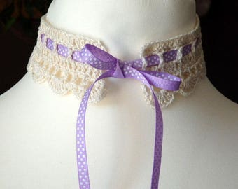 Romantic Crochet Collar, purple with dots ribbon