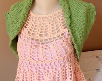 Crochet Sleeveless Bolero, Green wool