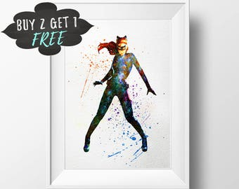 Catwoman Art Print, Catwoman Poster, Batman Art Dc Comics Cat Woman Superhero Catwoman And Batman Poster, Batman And Catwoman Decor Wall Art