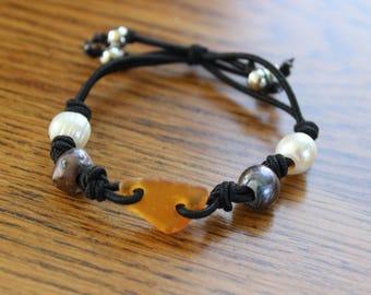 Honey amber beach glass stretch bracelet