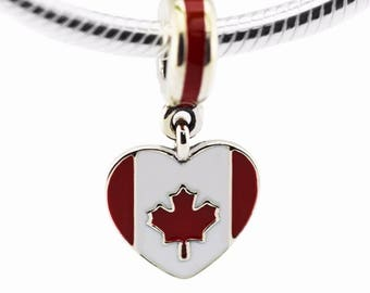 Canada Flag Charm - Canada Charm - Canada Heart Charm - I Love Canada Charm  - Canada Bead - Fits all Charm Bracelets