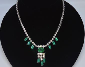 Vintage Joseph Wiesner N.Y. Emerald Green and Clear Rhinestone Necklace Pre- 1954