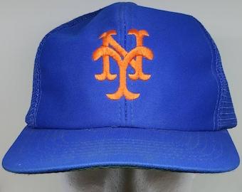 70s Blue Orange New York Yankees Baseball Cap MISSING CLOSURE Snapback Hat Retro NY Mlb Home Run Mesh Trucker Bright Bold