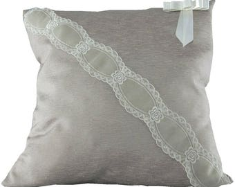 Decorative pillow Shabby chic Silk shantung and lace