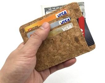 Natural cork Slim Wallet card holder handmade wallet Men cork vegan wallet. Bag-180