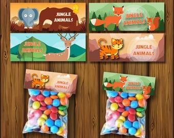 Safari Jungle Treat Bags, Party Treat Bags, Safari Jungle Favors, Safari Jungle bags, Birthday Party Favors, Safari Jungles Candy| JU_FULL