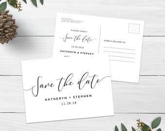 Printable Wedding Save The Date Postcard Template, Printable & Editable Calligraphy Save The Date Postcard Templates, PDF Instant Download