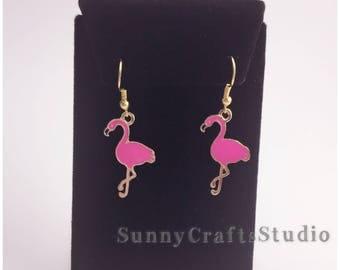 Flamingo earrings , flamingo lover earrings