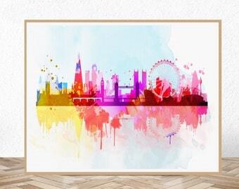 London skyline, london skyline print, london print, london skyline watercolor, london skyline art, london art, london wall art, london decor