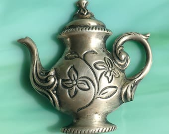 Teapot Brooch | Teapot Pin | Pewter Teapot | High Tea | Tea Party Favors | Tea Lover | Silver Teapot | Gift for Her | Vintage Jewelry
