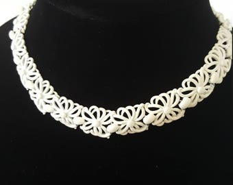 Vintage Monet Signed White Enamel Metal Choker Necklace 1960s Filigree Floral Necklace Fashion Jewelry Costume Jewelry Estate Jewelry