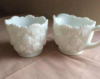 CLEARANCE Old Quilt Creamer and Sugar Westmoreland Vintage #332