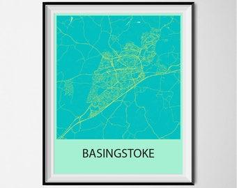Basingstoke Map Poster Print - Blue and Yellow