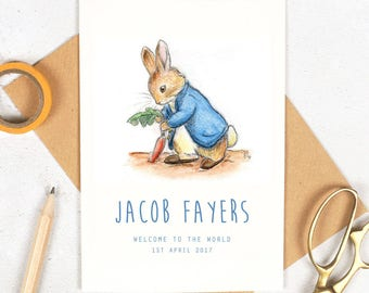 New Baby Card Personalised - Peter Rabbit - Welcome To The World Baby Card / Personalised Baby Card / Greeting Card / Cards / Beatrix Potter