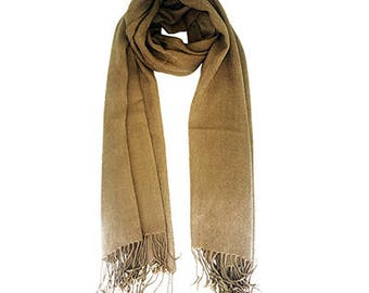 Mustard scarf with fringe