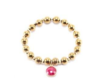 Ruby Gemstone Hematite Beaded Bracelet
