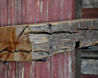 Barn Beam Mantel-Fireplace Mantel, Barnwood Mantel, Salvaged Wood Mantel, Reclaimed Wood Mantel, Barn Wood Mantel, Reclaimed Wood Mantels