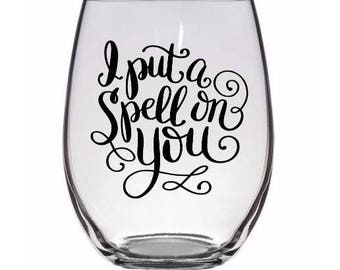 I Put a Spell on You Hocus Pocus Halloween Wine Pint Glass Tumbler Alcohol Drink Cup Barware Merch Massacre