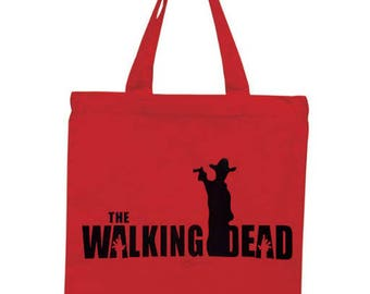 The Walking Dead Rick Zombie Horror Canvas Tote Bag Market Pouch Grocery Reusable Halloween Merch Massacre Black Friday Christmas
