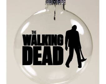 Walking Dead Walker Zombie  Christmas Ornament Glass Disc Holiday Horror Merch Massacre