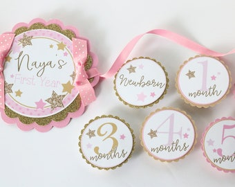 Twinkle Twinkle Little Star Birthday Photo Banner - 12 Month Photo Banner - Twinkle Star Pink & Gold Birthday Party Photo Banner