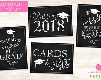 Graduation Party Signs - Set of 4 Printable 5x7 Signs for Graduation Party - The Tassel Was Worth the Hassle, Class of 2018 INSTANT DOWNLOAD