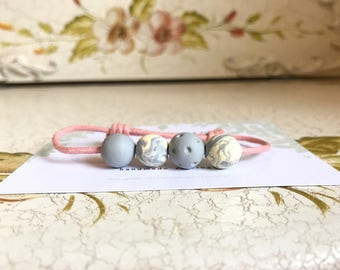 Beaded Clay Bracelet (grey)