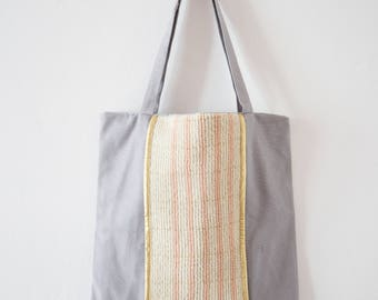 Purse in cottons and woven band, pink and gold - weaving Ilwen