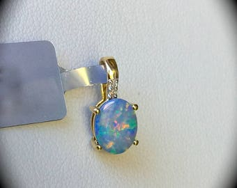 Boulder Opal & Diamond Pendant 9K Y GOLD 'CERTIFIED' Great Play of Colour!