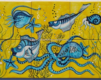 Ocean Backsplash Mural Tile Ceramic handmade and hand painted . Custom for You!!