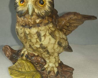 Vintage Great Horned OWL Perched on Branch - Japan - Excellent Shape