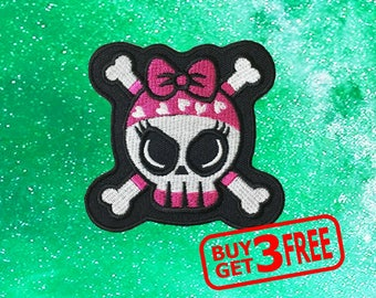 Pink Skull Crossbones Applique IRON ON PATCH funny patches Badge skull patch