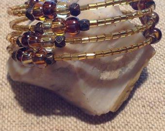 Earthy Tones Memory Wire Boho Bracelet