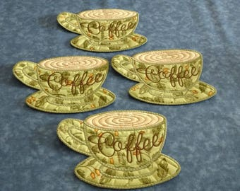 Spring Green Coffee Cup Coasters
